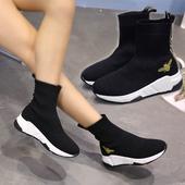 弹力短靴流行针织毛线舒适袜子鞋 特价 天天 刺绣小蜜蜂短筒女靴子