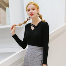 2018秋季新款大码女装胖mm减龄上衣南岛风胖妹妹心机领纯色毛衣