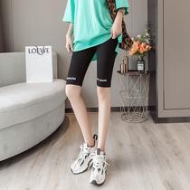 南岛风大码女装夏季2019新款洋气显瘦修身运动休闲五分裤子铅笔裤