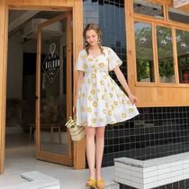 大码女装胖妹妹2019夏季新款洋气显瘦法式复古连衣裙减龄雪纺裙子