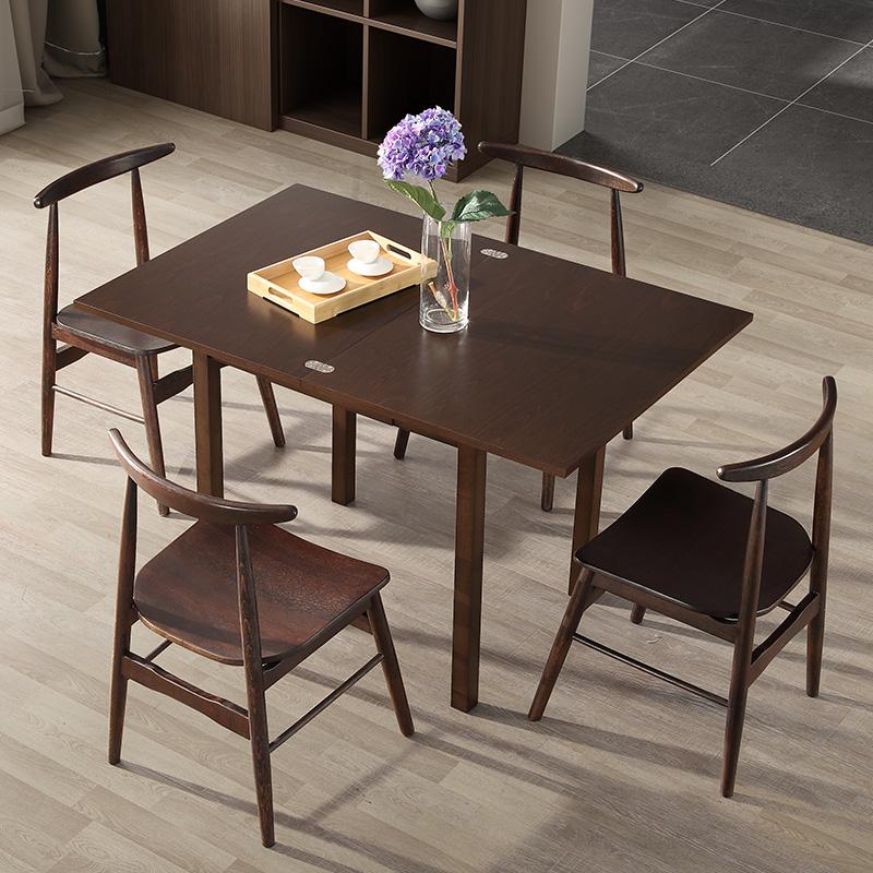 沃购桌子北欧多功能实木折叠餐桌小户型长方形伸缩餐桌椅组合家用