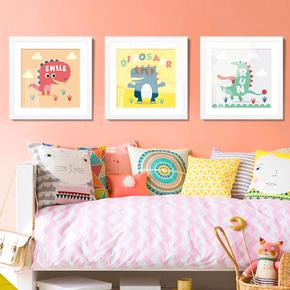 起贝 儿童房卡通恐龙装饰画幼儿园挂画壁画小清新可爱卧室床头画