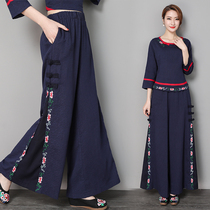 2019 Spring and summer womens clothing national wind pants retro big size cotton hemp bigfoot wide leg pants embroidery flower wide pants trousers