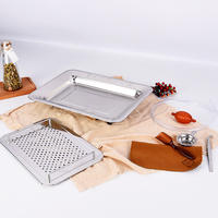Stainless steel tea tray with drainage rectangular tea pool Kung Fu tea set metal tea tray tray tea sea
