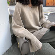 A7seven 宽松慵懒V领长袖套头毛衣女秋冬韩版学生百搭显瘦针织衫
