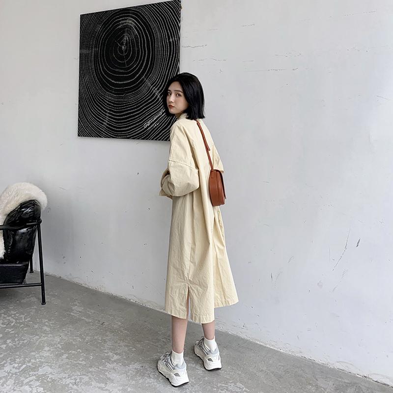 A7seven連衣裙女春秋裝新款韓版中長款寬松顯瘦純色長袖襯衫裙子圖片