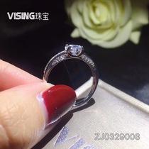 925纯银镶嵌美国进口莫桑石戒指60分VISING珠宝