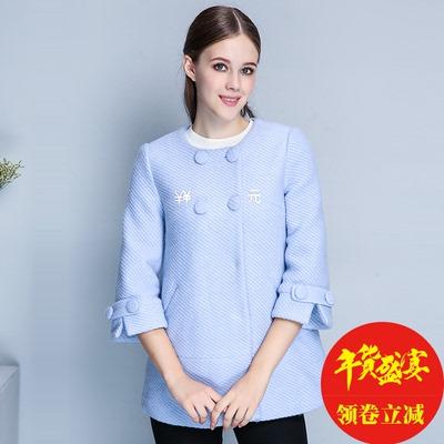 雅奴天使2016冬装新品女韩版气质七分袖外套呢大衣DD62250