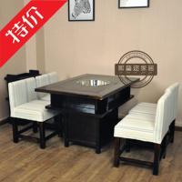 实木火锅桌椅组合 长方形火锅店餐桌餐椅 煤气灶电磁炉商用火锅桌