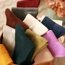 Japanese solid color pumping cotton ladies pile pile socks autumn and winter wild warm tube socks college cotton week stockings