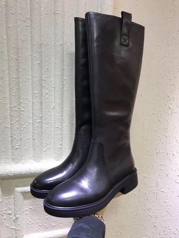 欧洲站2019秋季新款女鞋欧货真皮高筒侧拉链骑士靴时尚舒适靴子女