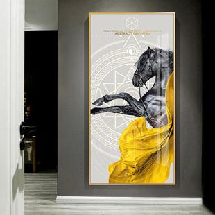 饰画竖版过道走廊挂画现代简约轻奢大气入户壁画马到成功 玄关装