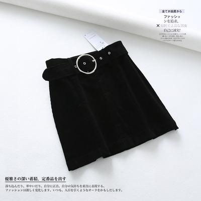 西班牙单 时尚纯色气质百搭腰带收腰灯芯绒A字半身裙DMQ812270