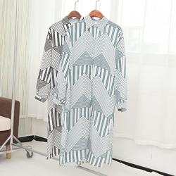 国内单时尚减龄不规则条纹宽松百搭长袖单排扣连衣裙DMQ806495