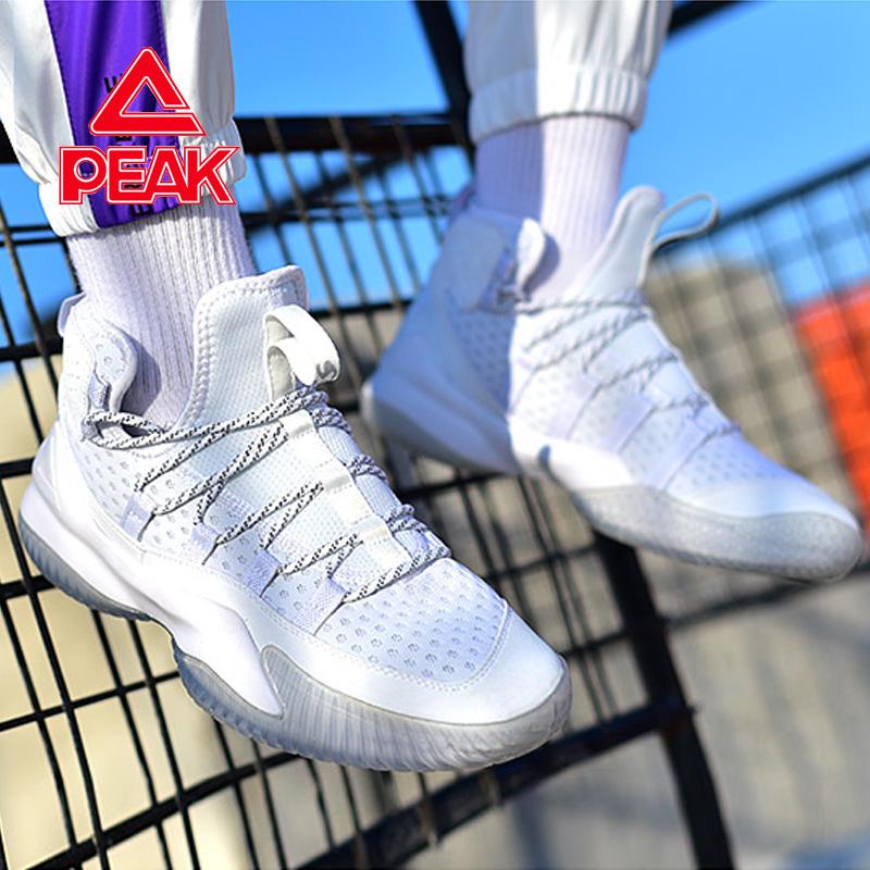 实战篮球鞋男匹克男鞋2019新款中帮水泥地夏季白色运动鞋耐磨球鞋