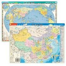 【3D立体模型图】2018中国地形图+2018世界地形图3D凹凸优质地图挂图16开29x21cm学生学习展示地理地貌地形星球中国地形图3d立体