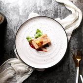 创意10英寸斑点陶瓷圆平盘家用沙拉盘热菜盘西餐厅牛排盘螺纹盘子