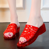 夏季凉拖鞋女外穿高跟水晶塑料一字拖防滑坡跟厚底海边度假沙滩鞋