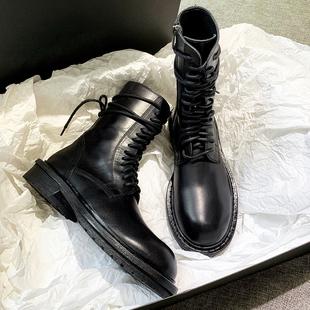 Ann马丁靴女短靴子英伦风黑色帅气机车靴百搭2019新款 春秋单靴潮
