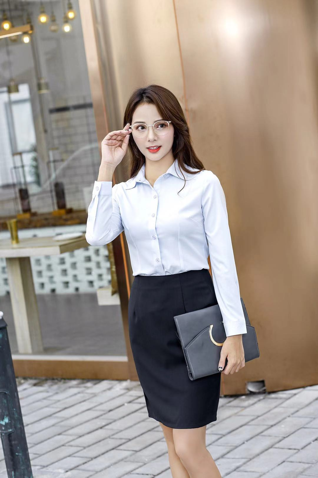 2018 autumn and winter Korean version of the new imported fabric casual professional wear shirt female Slim