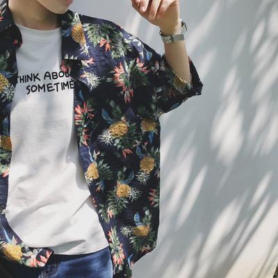 夏季五分袖衬衫男宽松沙滩花衬衣夏威夷海边度假旅游短袖上衣服潮