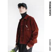 有时又一/原创秋季新款夹克 复古酒红色灯芯绒宽松夹克外套男休闲