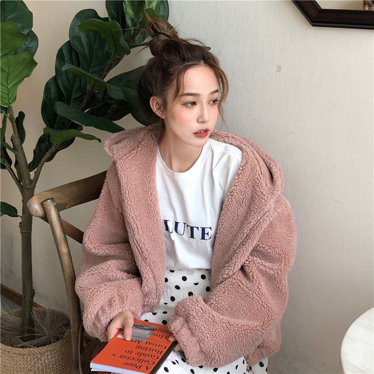 Winter Korean version of the loose thick plush sweater hooded cardigan shirt warm short jacket
