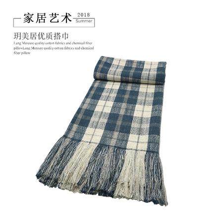 玥美居蓝色格子纹麻布搭巾北欧样板房装饰搭毯盖毯床尾巾床尾毯