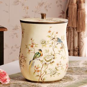 美式复古田园垃圾桶有盖家用纸篓客厅卧室小号创意欧式奢华带盖