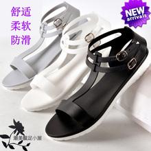 果冻鞋 女夏平底学生韩简约欧美罗马套脚防滑塑料凉鞋 t字大码 雨鞋