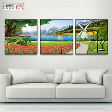 子典客厅装饰画新中式烤瓷彩雕三联画立体浮雕风景画沙发背景山水