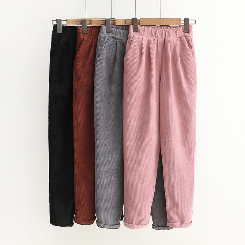 粉色条绒小脚裤