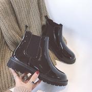 2018圆头马丁靴短靴女春秋季厚底短筒单靴平底切尔西靴机车靴子潮