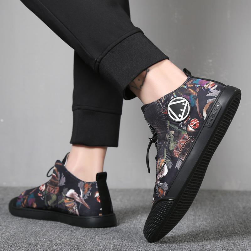 高帮印花板鞋休闲鞋