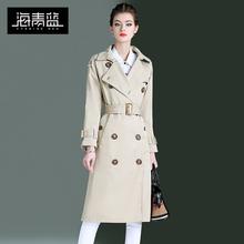 海青蓝2019新款春装女装时尚翻领长袖收腰绑带拼接百搭风衣09729图片
