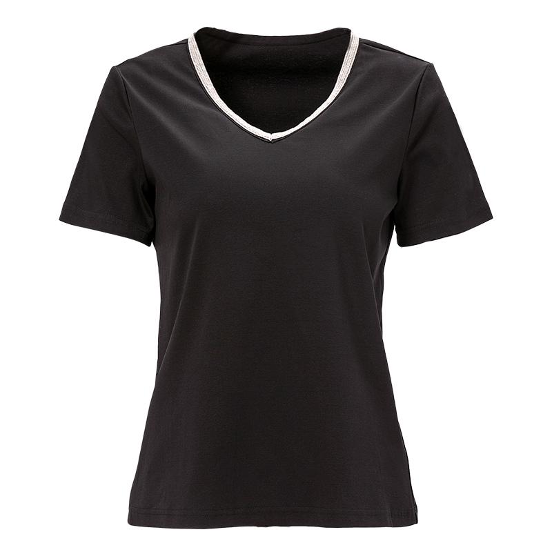 海青蓝2019夏季新款时尚V领短袖上衣白色宽松百搭T恤女装潮01406