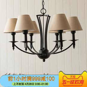 韩式田园吊灯北欧美式乡村铁艺简约布艺地中海客厅卧室灯具
