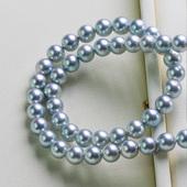 日本Akoya银灰色天然海水珍珠项链真多麻女镜面极强光正圆送妈妈
