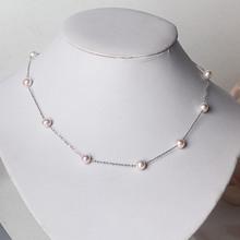 新品首发S925银6.57mm淡水珍珠满天星项链针式链XL539