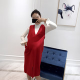Amum pregnant women's autumn/winter dress new two-piece set of medium-length knitted vest dress