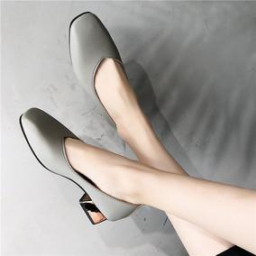 韩版奶奶鞋女粗跟方头一脚蹬浅口鞋百搭2018春季新款小清新高跟鞋