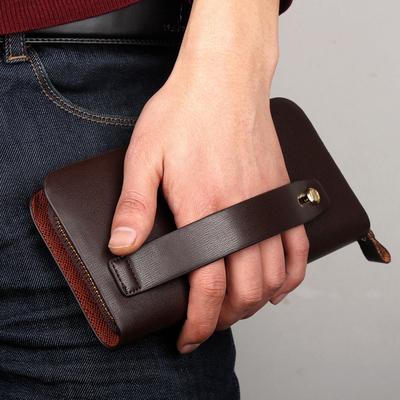 新款手包男士手拿包商务简约长款拉链钱包软皮大容量手抓包男包