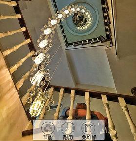 别墅楼梯灯长吊灯复式旋转楼梯吊灯水晶灯楼中楼现代简约跃层客厅