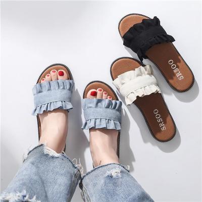 Women Summer Slippers Flat Shoes Sandals Beach lady sweet