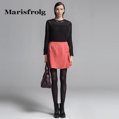 玛丝菲尔女装时尚简约高腰半身裙显瘦短裙秋