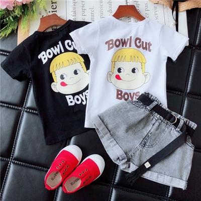 儿童体恤2018春夏新款韩版男女童时髦头像T小童可爱清新短袖上衣