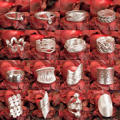戴银银饰泰国清迈手工银s990纯银戒指泰银戒指开口女款新指环
