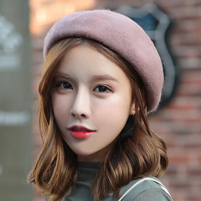 帽子女秋冬天韩版甜美可爱毛呢画家帽南瓜帽羊毛帽毛线帽贝雷帽女
