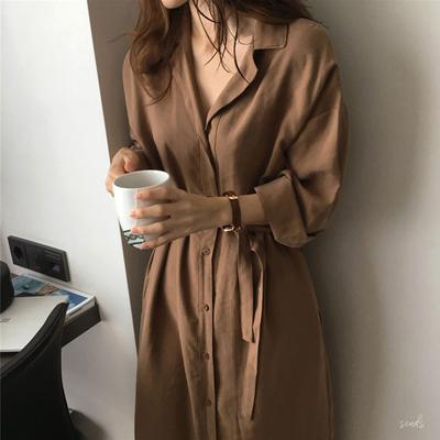 春装2019新款韩版港味chic宽松大衣系带收腰薄款中长款风衣外套女