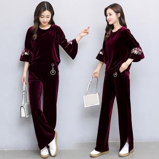 秋季金丝绒运动服女阔腿裤两件套2018新款喇叭刺绣休闲套装女长裤